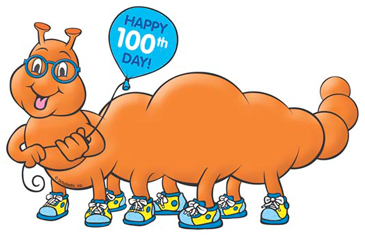 100th Day of School Orange Worm.