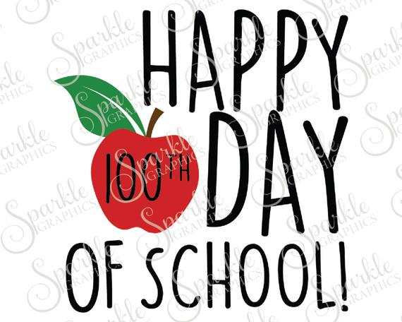 Happy 100th Day Of School SVG Apple SVG Teacher Gift School SVG 100th Day  Clipart Svg Dxf Eps Png Silhouette Cricut Cut File Commercial Use.