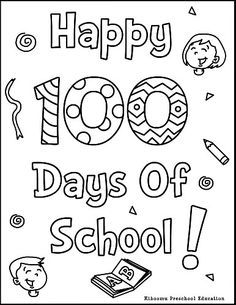 100th Day Of School Printable Coloring Page and Song.
