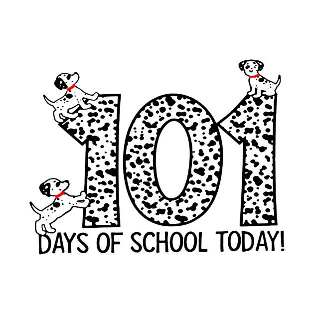 101 Days Of School Dalmatian Dog Spots T Shirt Teacher.