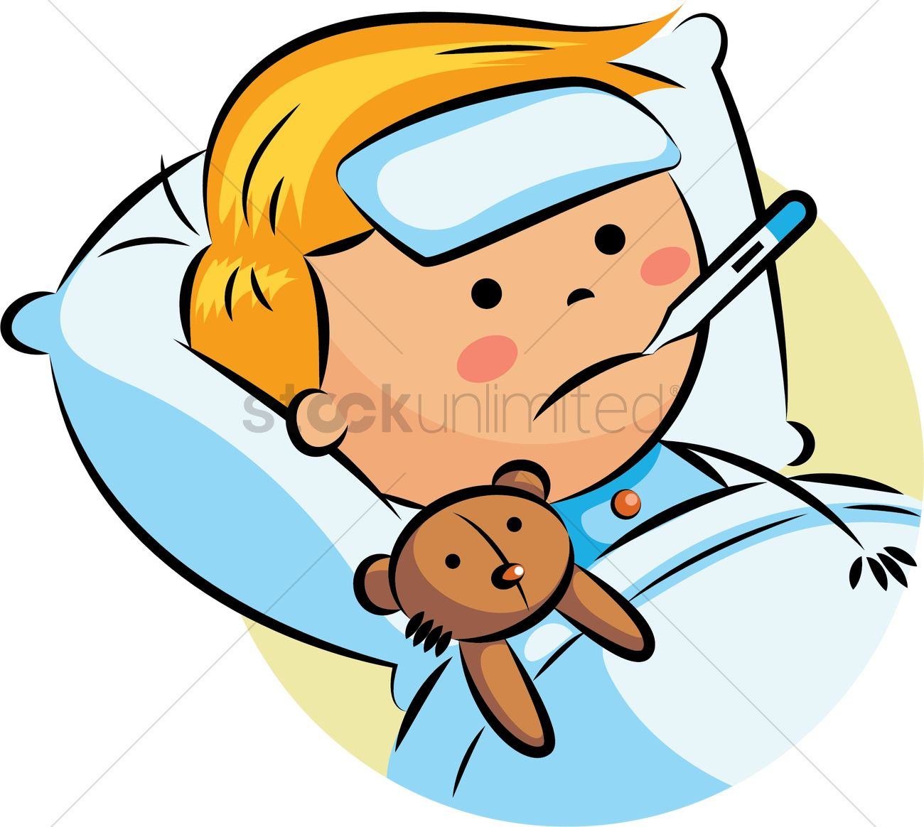 Boy With Fever Clipart.