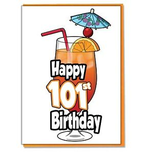 Details about Cocktail 101st Birthday Card.
