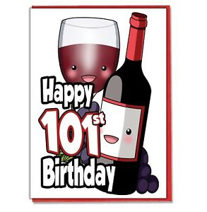 Details about Red Wine 101st Birthday Card.