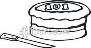 101st Birthday Cake with a Knife Royalty Free Clipart Picture.