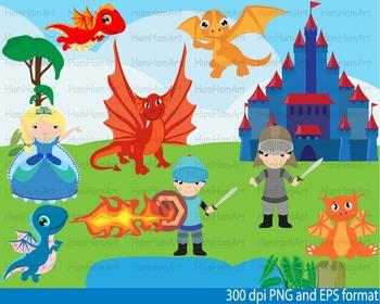 Super Knights and Dragons Clip Art school halloween birthday PRINCESS.