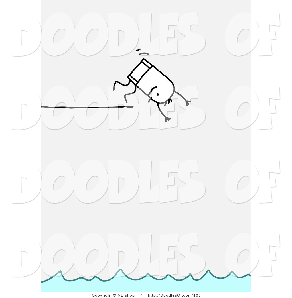 Vector Clipart of a Stick Figure Person Man Diving off of a.