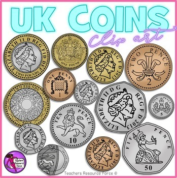 British UK coins clip art: 1p, 2p, 5p, 10p, by Teachers.