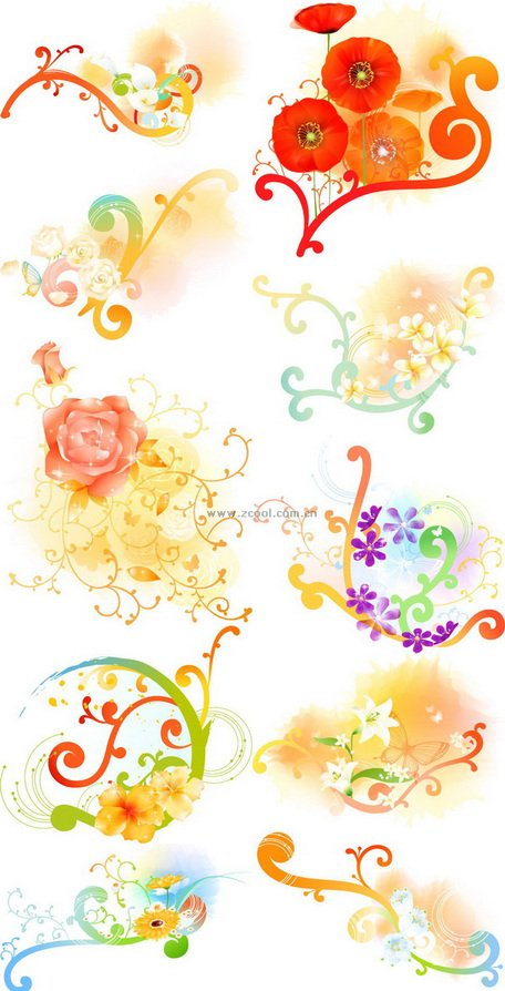 Exquisite floral series vector material.