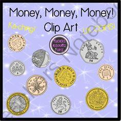 British UK coins clip art: 1p, 2p, 5p, 10p, 20p, 50p, £1, £2.