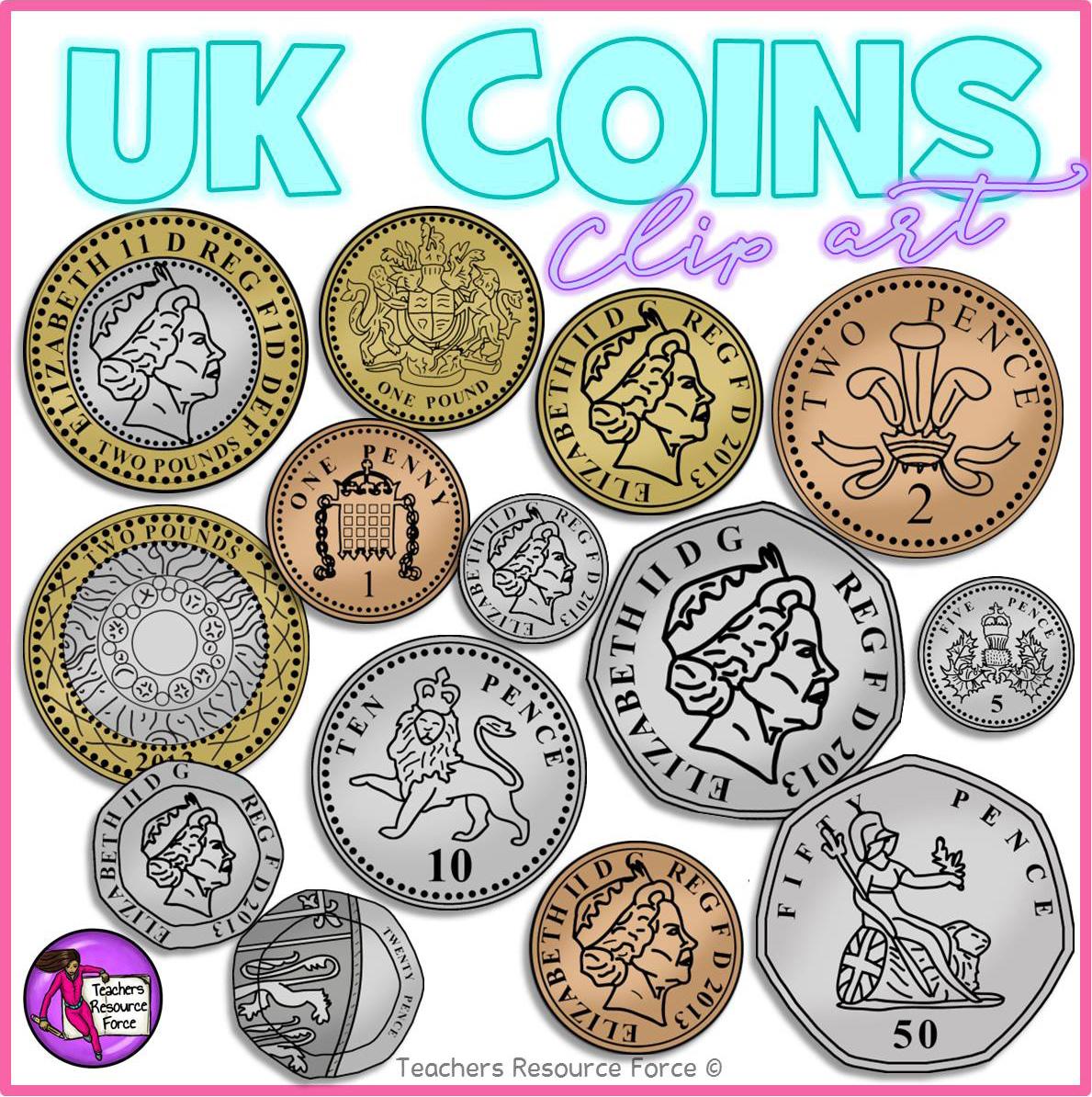 UK Coins Clip Art.