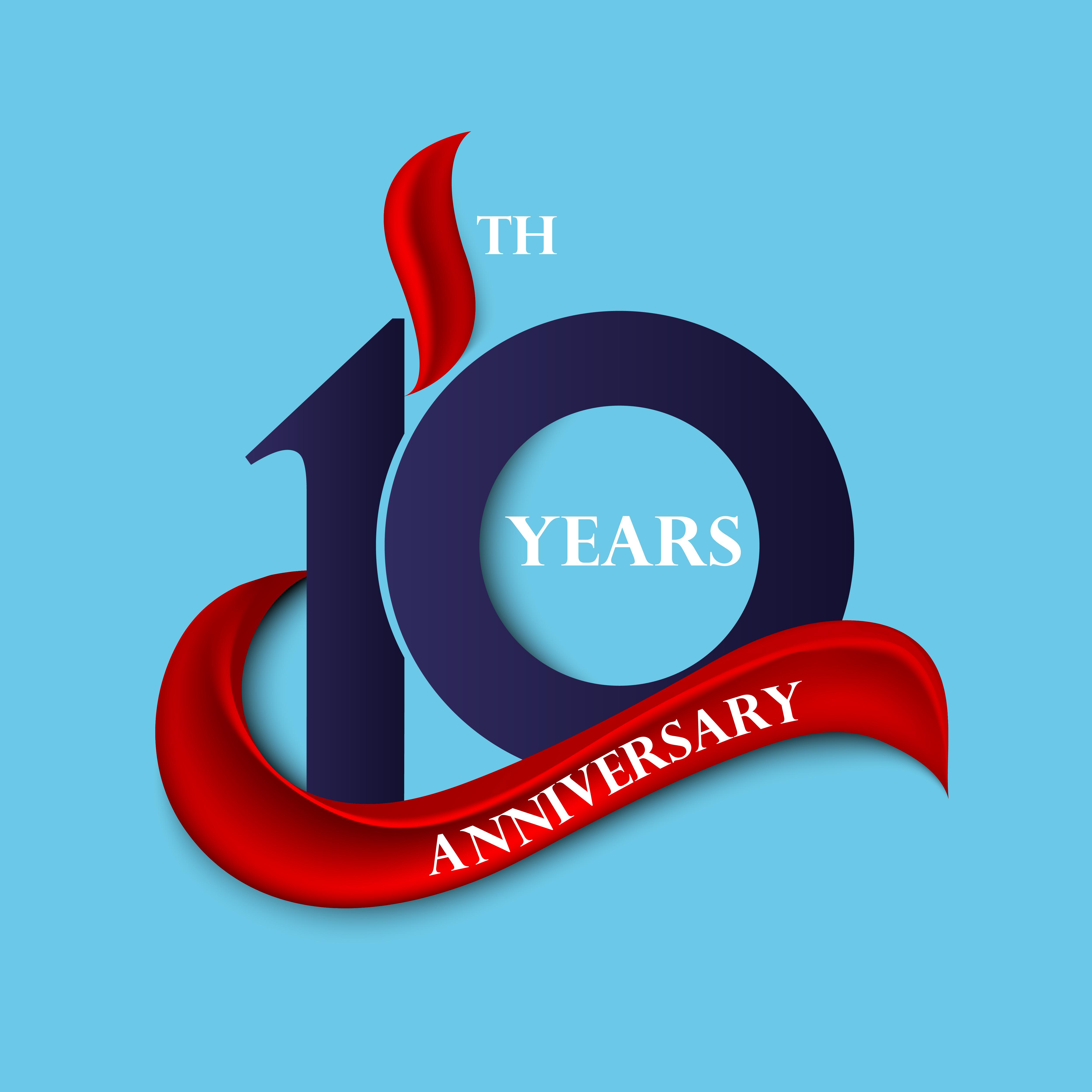 10th Anniversary Free Vector Art.