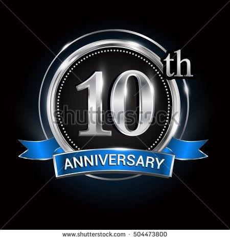 Celebrating 10th anniversary logo. with silver ring and blue.