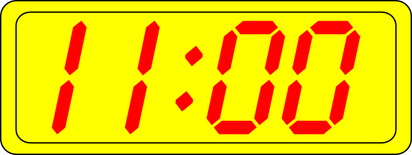 Digital Clock 11:00 Clip Art at Clker.com.