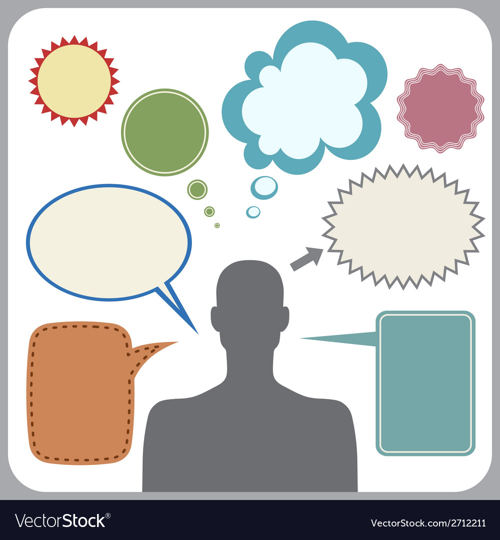 Clipart of man with speech bubbles.