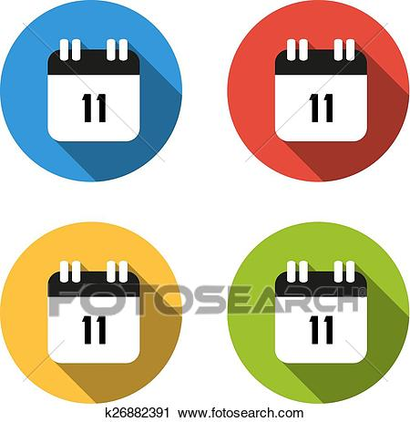 Collection of 4 isolated flat buttons (icons) for number 11.