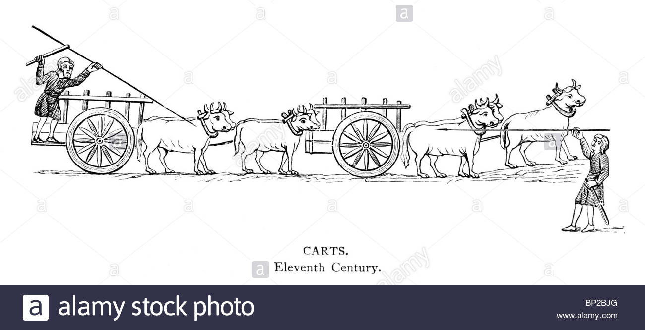 Black And White Illustration; 11th Century Carts Being Pulled By.