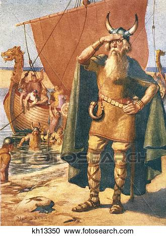 Stock Photography of Viking Explorers Landing On An Unknown Shore.