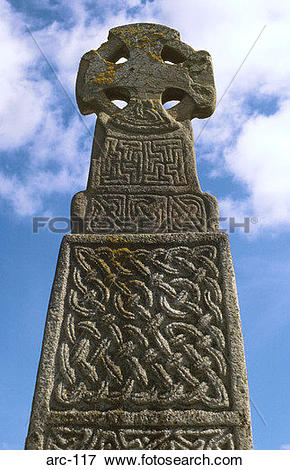 Picture of 11th Century Celtic Stone Cross Carew Wales arc.