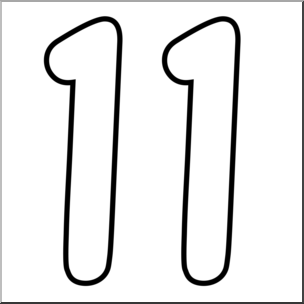 Number 11 Clipart Black And White.