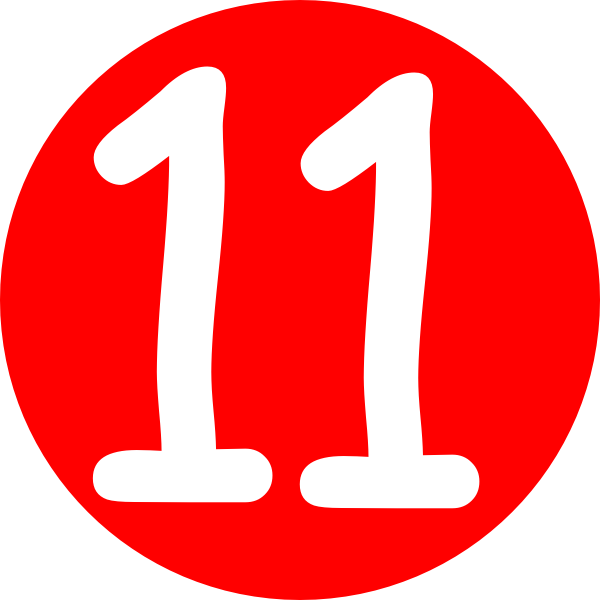 Red, Rounded,with Number 11 Clip Art at Clker.com.