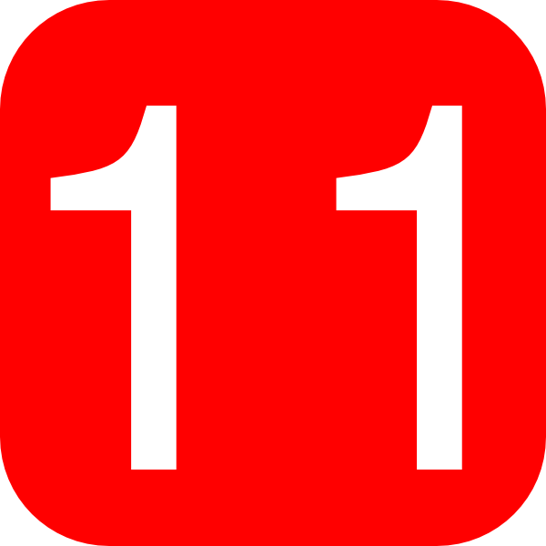 Red, Rounded, Square With Number 11 Clip Art at Clker.com.