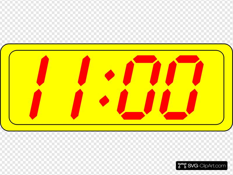 Digital Clock 11:00 Clip art, Icon and SVG.