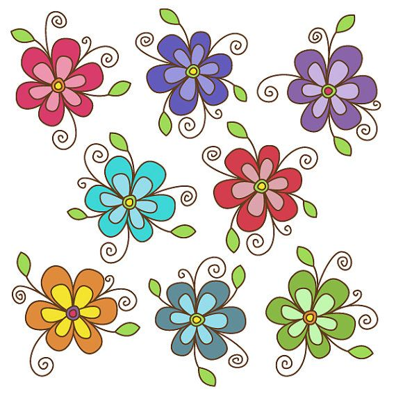 7 Flowers Clipart.