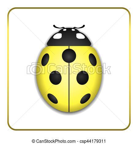 Ladybug yellow realistic cartoon icon.