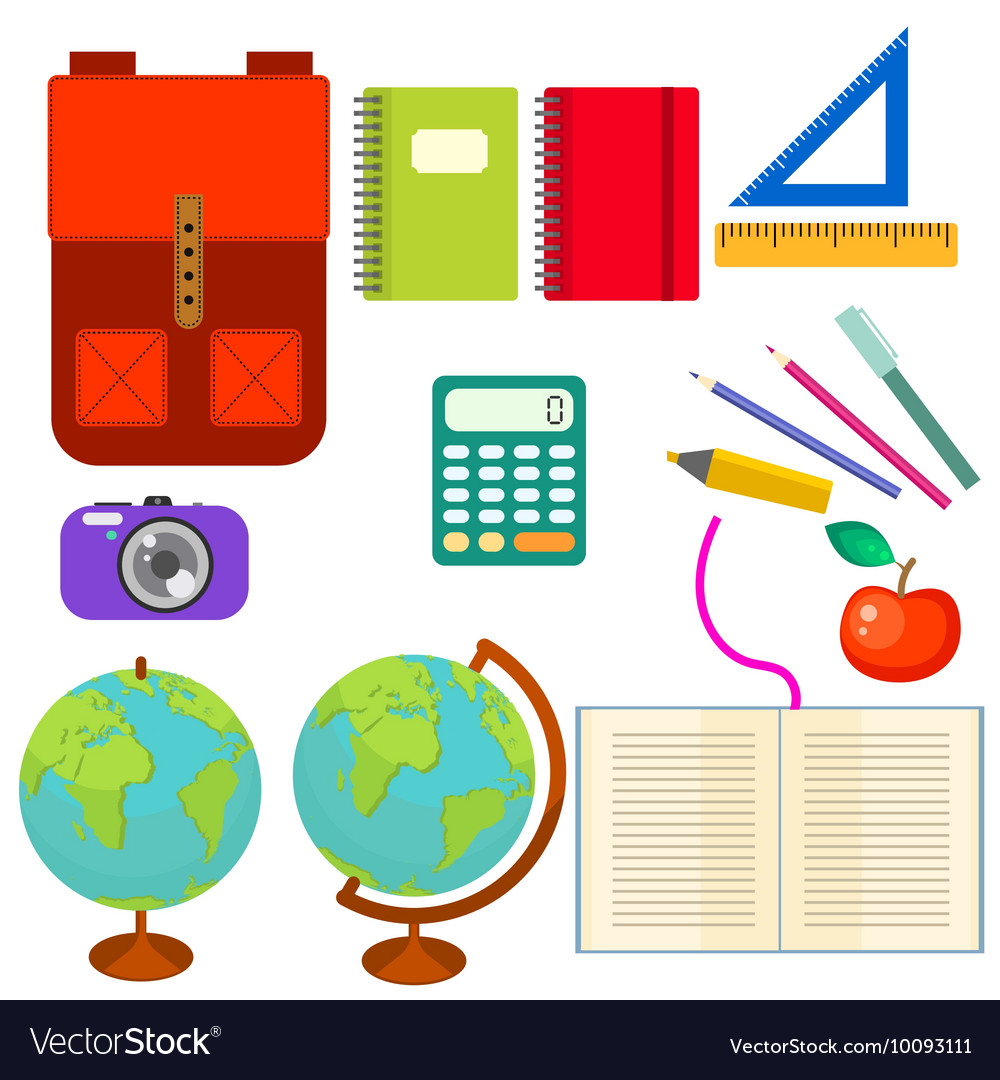 School supplies clip art objects.