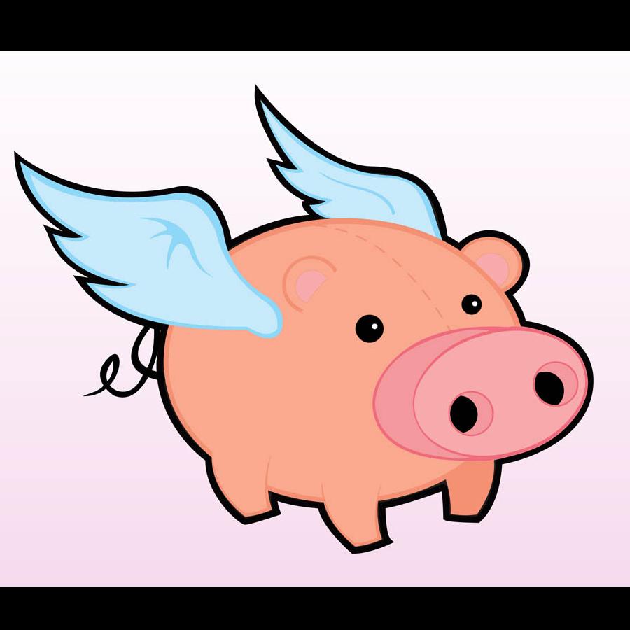 Flying Pig Marathon Domestic pig When pigs fly Clip art.