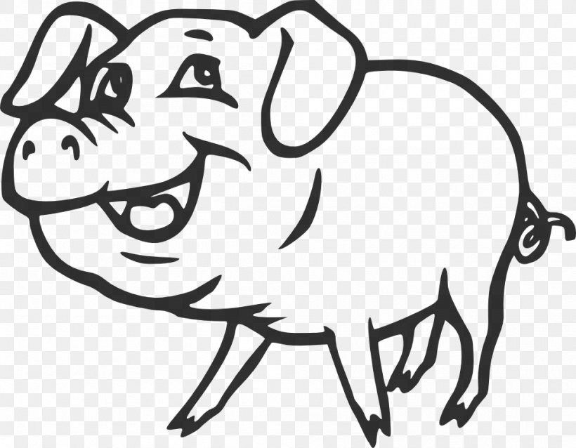 Pig Black And White Drawing Clip Art, PNG, 999x778px.