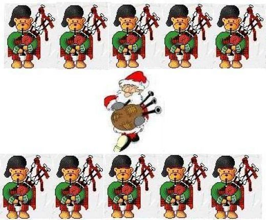 12 days of christmas 11 pipers piping.