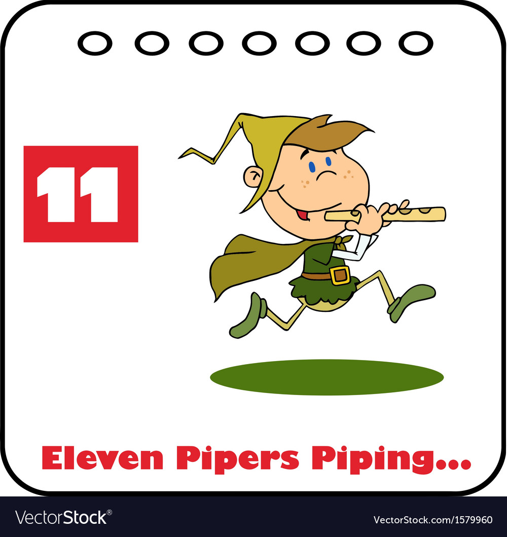 Eleven pipers piping cartoon.