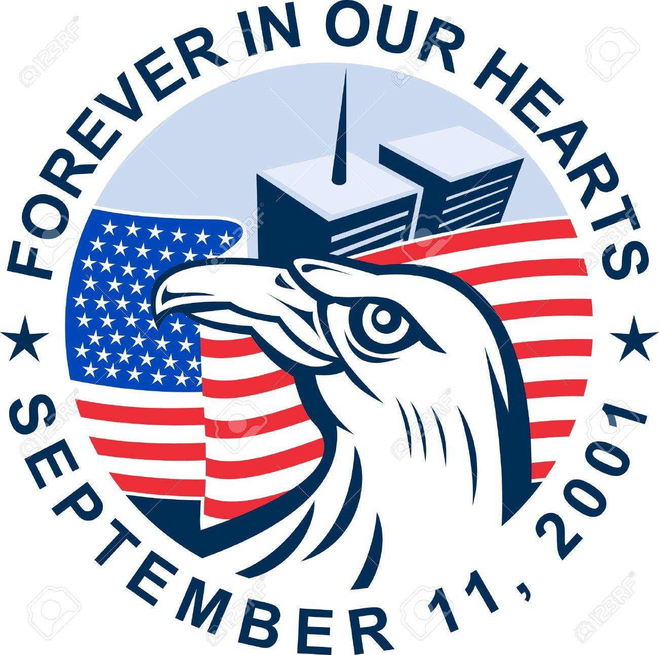 Graphic Design Illustration Of 9/11 Memorial Showing Bald Eagle.