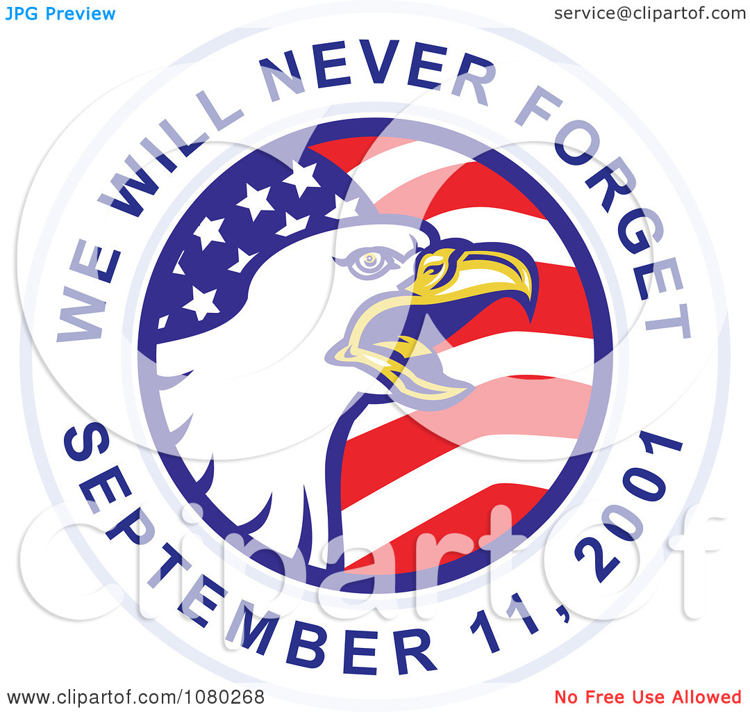 Clipart Bald Eagle And American Flag On A We Will Never Forget.