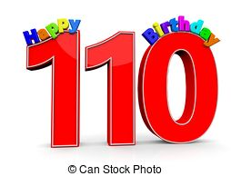 The big red number 110 with happy birthday Stock.