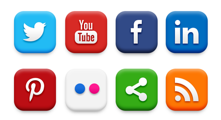 20 Popular Social Media Icons (PSD & PNG) Clipart Picture.