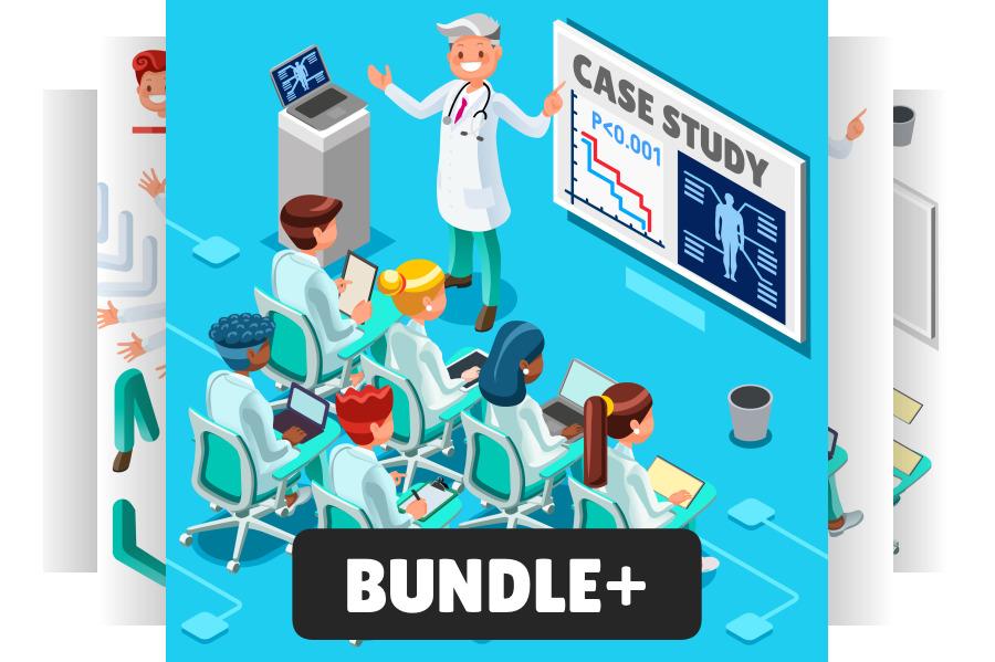 Doctor Clip Art Bundle Medical Isometric People.