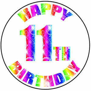 Details about Happy 11th Birthday Colourful Round 8