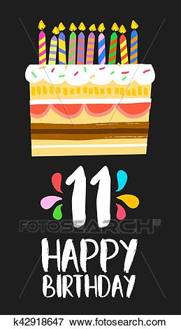 Happy Birthday cake card for 11 eleven year party Clip Art.