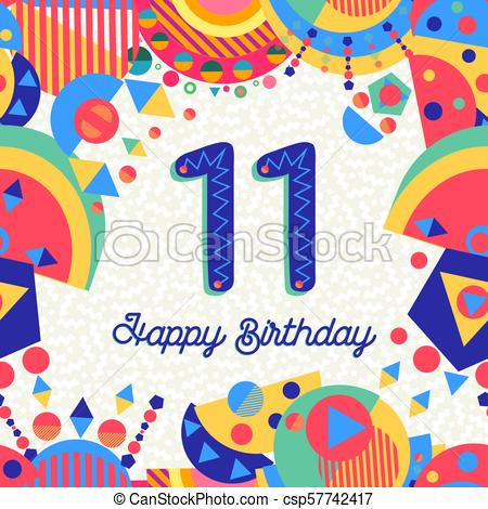 Eleven 11 year birthday party greeting card number.