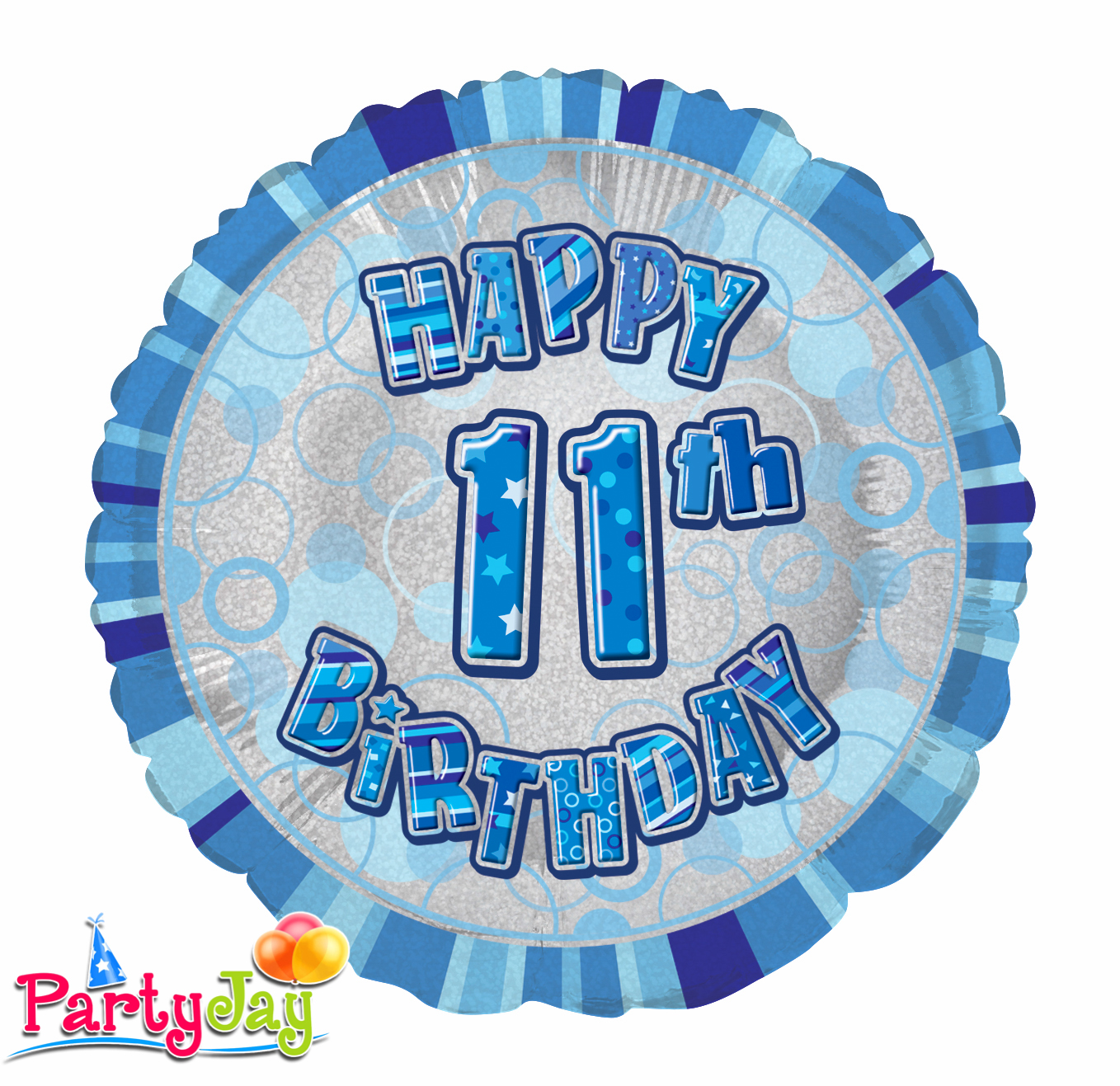 "Round Happy 11th Birthday Blue 18"" Foil Balloon."