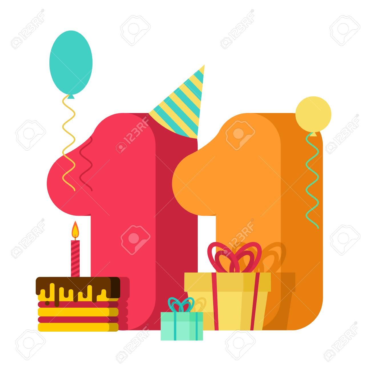 11 year greeting card Birthday. 11th anniversary celebration...