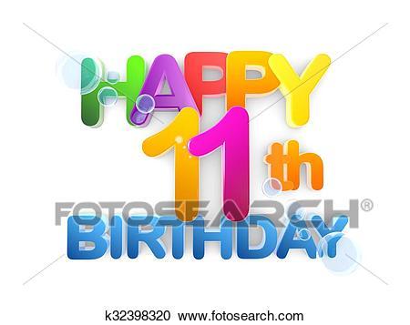 Happy 11th Birthday Title, light Clipart.