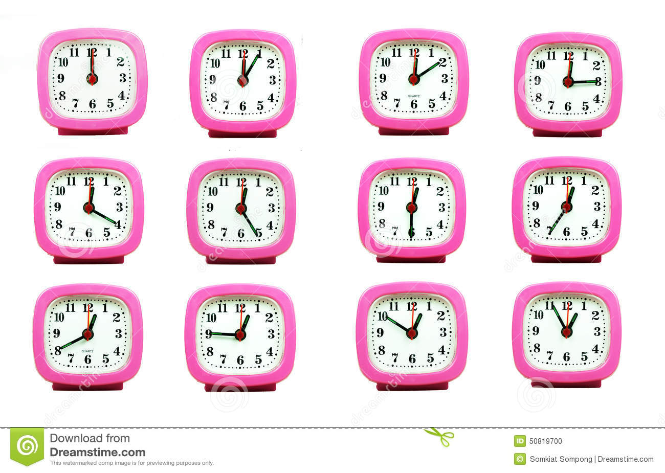 Collection Of Clock From 12:00 To 1:00 AM And PM Isolated In White.