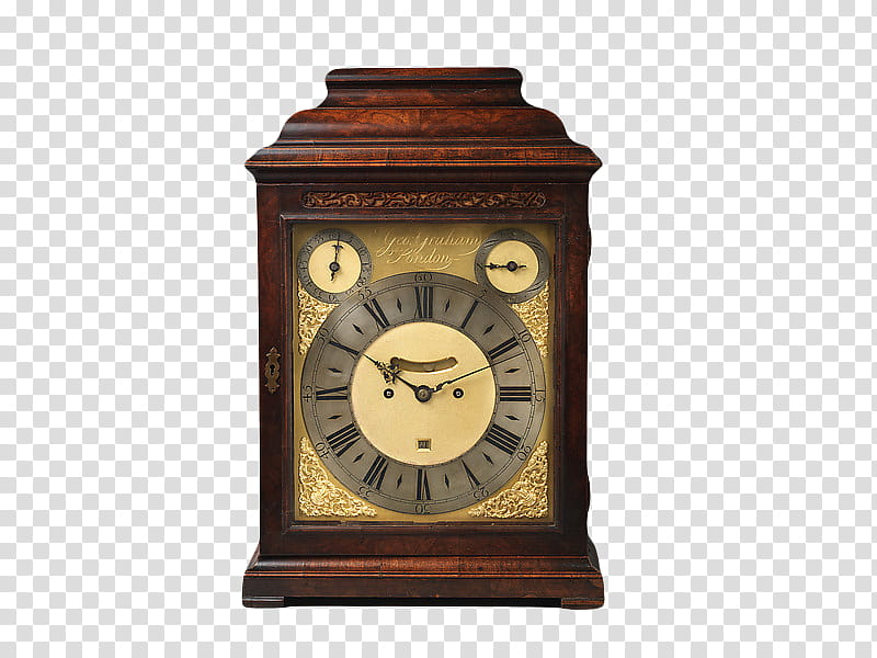 brown wooden chronograph tabletop clock displaying : time.