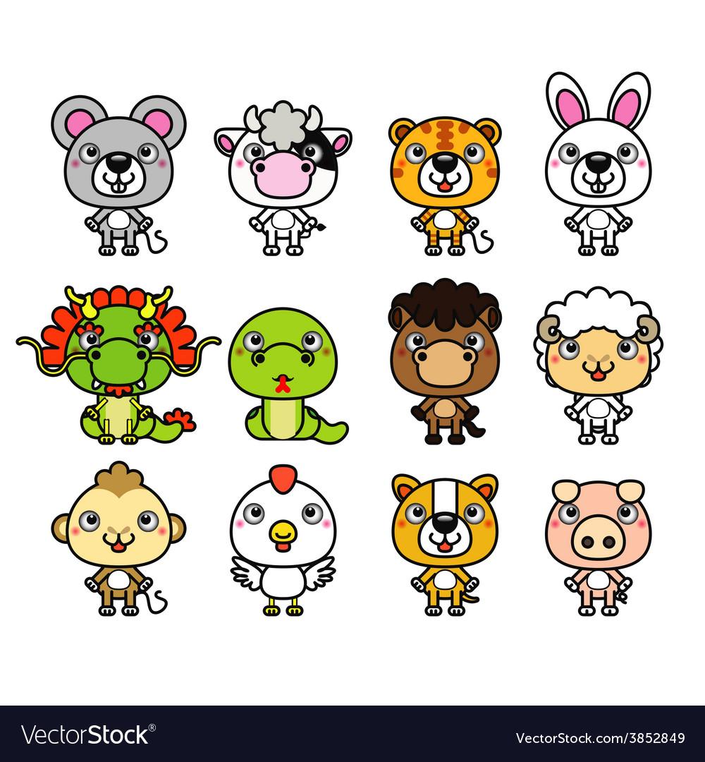 12 Chinese Zodiac cartoon animal.