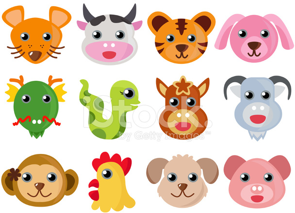 Cute Vector Animal Icons : Chinese 12 Zodiac Stock Vector.