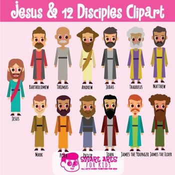Jesus and 12 Disciples Clip Art Set with names in 2019.