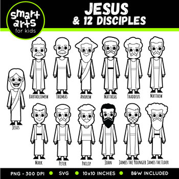 Jesus and 12 Disciples Clip Art Set with names.